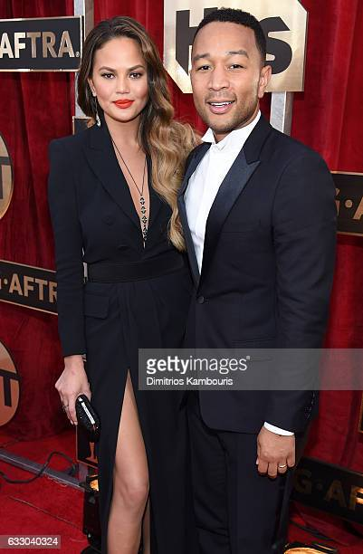 Model Chrissy Teigen and singersongwriter John Legend attends The 23rd Annual Screen Actors Guild Awards at The Shrine Auditorium on January 29 2017...