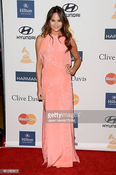 Model Chrissy Teigen arrives at Clive Davis The Recording Academy's 2013 PreGRAMMY Gala and Salute to Industry Icons honoring Antonio LA Reid at The...