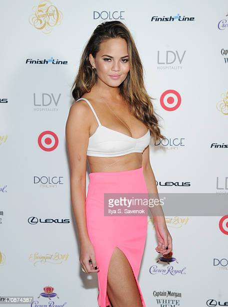 Model Chrissy Teigen arrives at SI Swimsuit South Beach Soiree at The Gale South Beach on February 20 2014 in Miami Beach Florida