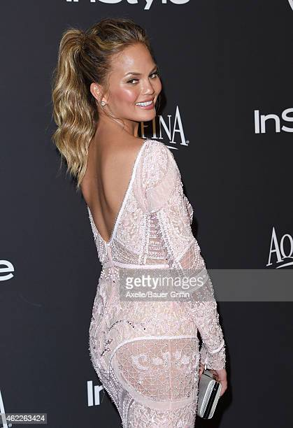 Model Chrissy Teigen arrives at the 16th Annual InStyle and Warner Bros Golden Globe AfterParty at The Beverly Hilton Hotel on January 11 2015 in...