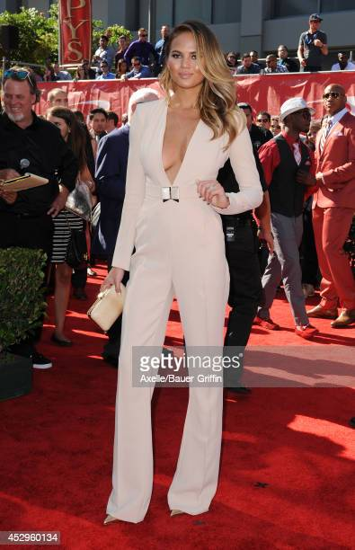 Model Chrissy Teigen arrives at the 2014 ESPY Awards at Nokia Theatre LA Live on July 16 2014 in Los Angeles California