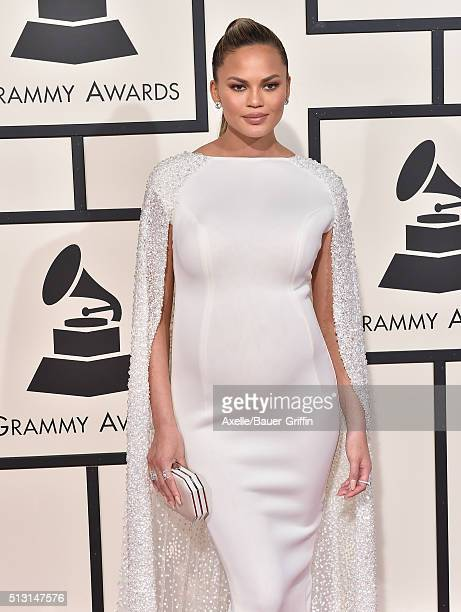 Model Chrissy Teigen arrives at The 58th GRAMMY Awards at Staples Center on February 15, 2016 in Los Angeles, California.
