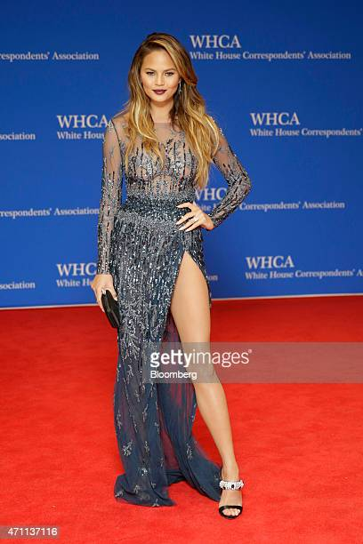 Model Chrissy Teigen arrives for the White House Correspondents' Association dinner in Washington DC US on Saturday April 25 2015 The 101st WHCA...