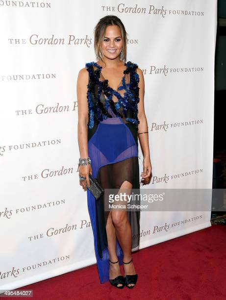 Model Chrissy Teigen attends 2014 Gordon Parks Foundation awards dinner at Cipriani Wall Street on June 3 2014 in New York City