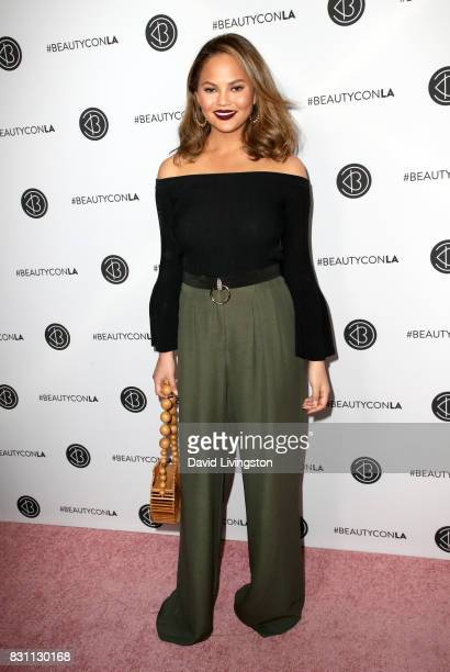 Model Chrissy Teigen attends Day 2 of the 5th Annual Beautycon Festival Los Angeles at the at Los Angeles Convention Center on August 13 2017 in Los...