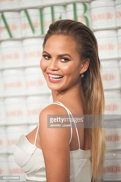 Model Chrissy Teigen attends La Mer Celebrates 50 Years of an Icon at Siren Studios on October 13 2015 in Hollywood California