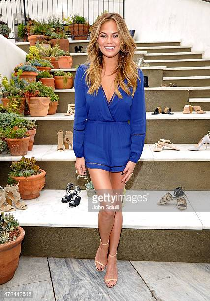 Model Chrissy Teigen attends RAYE shoe launch event hosted by Chrissy Teigen and Hillary Kerr held At Ysabel on May 7 2015 in West Hollywood...