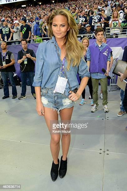 Model Chrissy Teigen attends Super Bowl XLIX at University of Phoenix Stadium on February 1 2015 in Glendale Arizona