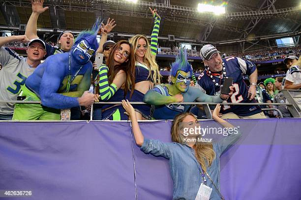 Model Chrissy Teigen attends Super Bowl XLIX at University of Phoenix Stadium on February 1 2015 in Glendale Arizona