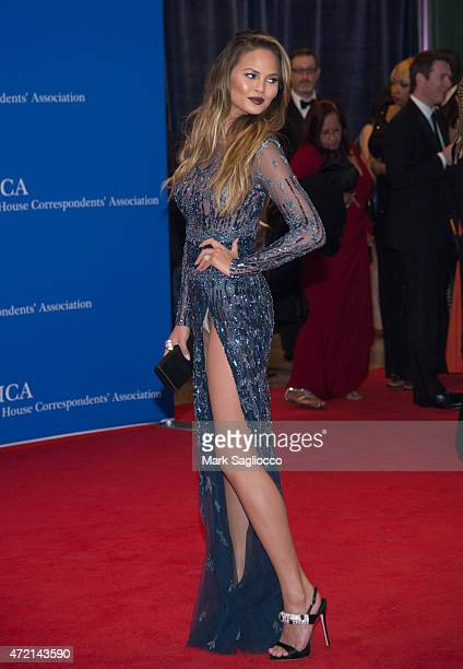Model Chrissy Teigen attends the 101st Annual White House Correspondents' Association Dinner at the Washington Hilton on April 25 2015 in Washington...