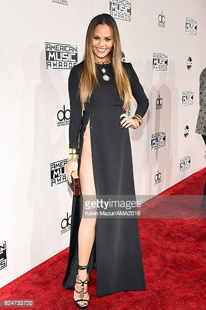 Model Chrissy Teigen attends the 2016 American Music Awards at Microsoft Theater on November 20 2016 in Los Angeles California