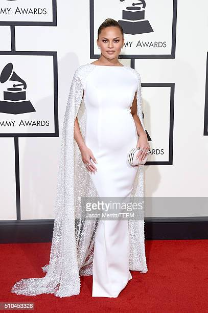 Model Chrissy Teigen attends The 58th GRAMMY Awards at Staples Center on February 15 2016 in Los Angeles California