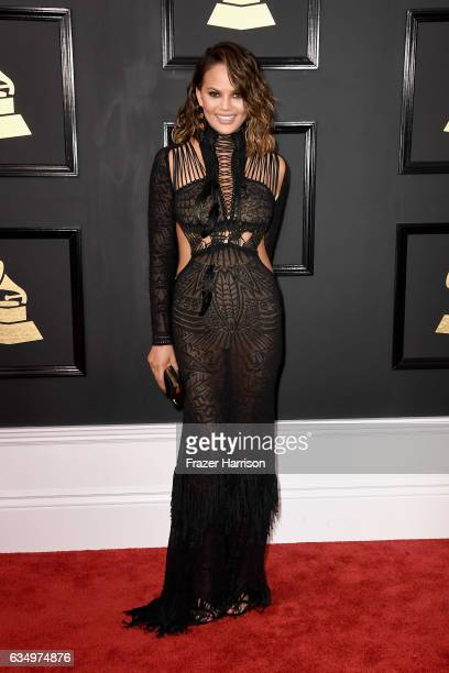 Model Chrissy Teigen attends The 59th GRAMMY Awards at STAPLES Center on February 12 2017 in Los Angeles California