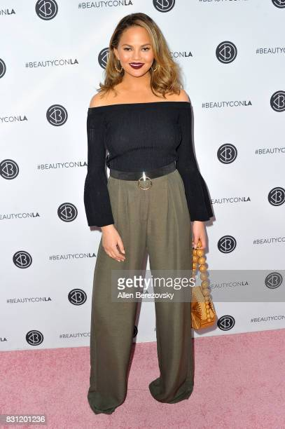 Model Chrissy Teigen attends the 5th Annual Beautycon Festival Los Angeles at Los Angeles Convention Center on August 13 2017 in Los Angeles...