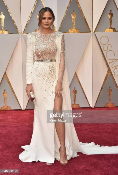 Model Chrissy Teigen attends the 89th Annual Academy Awards at Hollywood Highland Center on February 26 2017 in Hollywood California