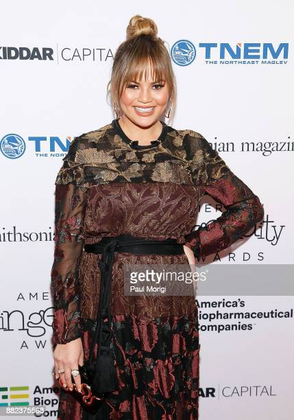 Model Chrissy Teigen attends the Smithsonian Magazine's 2017 American Ingenuity Awards at the National Portrait Gallery on November 29 2017 in...