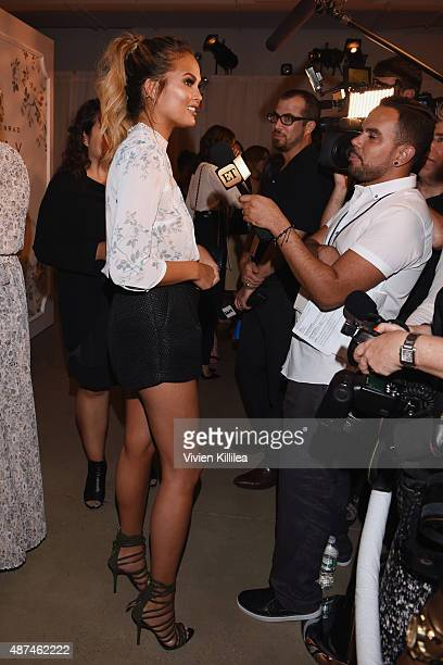 Model Chrissy Teigen backstage at the LC Lauren Conrad fashion show during New York Fashion Week Spring 2016 at Skylight Modern on September 9 2015...
