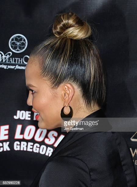 Model Chrissy Teigen hair detail attend the 'Turn Me Loose' opening night at The Westside Theatre on May 19 2016 in New York City