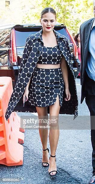 Model Chrissy Teigen is seen arriving at the Michael Kors Spring 2017 Runway Show during New York fashion week at Spring Studios on September 14,...