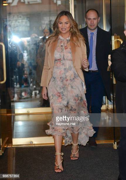 Model Chrissy Teigen is seen leaving the today show on March 27 2018 in New York City