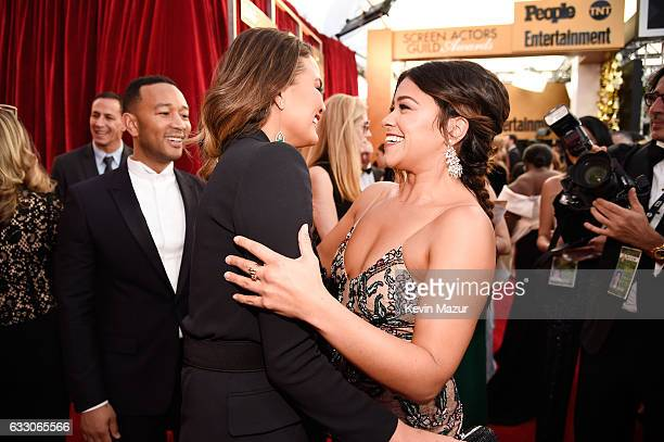 Model Chrissy Teigen musician John Legend and actor Gina Rodriguez attend The 23rd Annual Screen Actors Guild Awards at The Shrine Auditorium on...