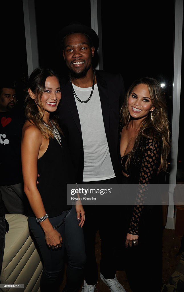 Model Chrissy Teigen, NBA player Kevin Durant and actress Jamie Chung attend NBA 2K15 Launch Celebration at The Standard on September 23, 2014 in New York City.