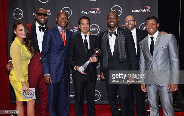 Model Chrissy Teigen NBA players LeBron James and Ray Allen Miami Heat head coach Erik Spoelstra with the Best Game award NBA player Dwyane Wade...