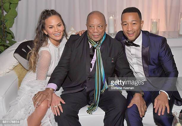 Model Chrissy Teigen producer Quincy Jones and recording artist John Legend attend The Art of Elysium presents Stevie Wonder's HEAVEN Celebrating the...