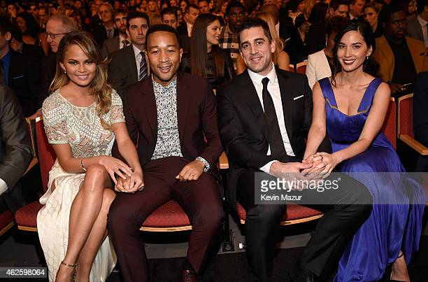 Model Chrissy Teigen recording artist John Legend NFL player Aaron Rodgers and actress Olivia Munn attend the 4th Annual NFL Honors at Phoenix...