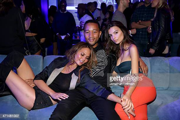 Model Chrissy Teigen singer John Legend and model Emily Ratajkowski attend the Samsung Studio LA Launch Event across from the Grove on April 28 2015...