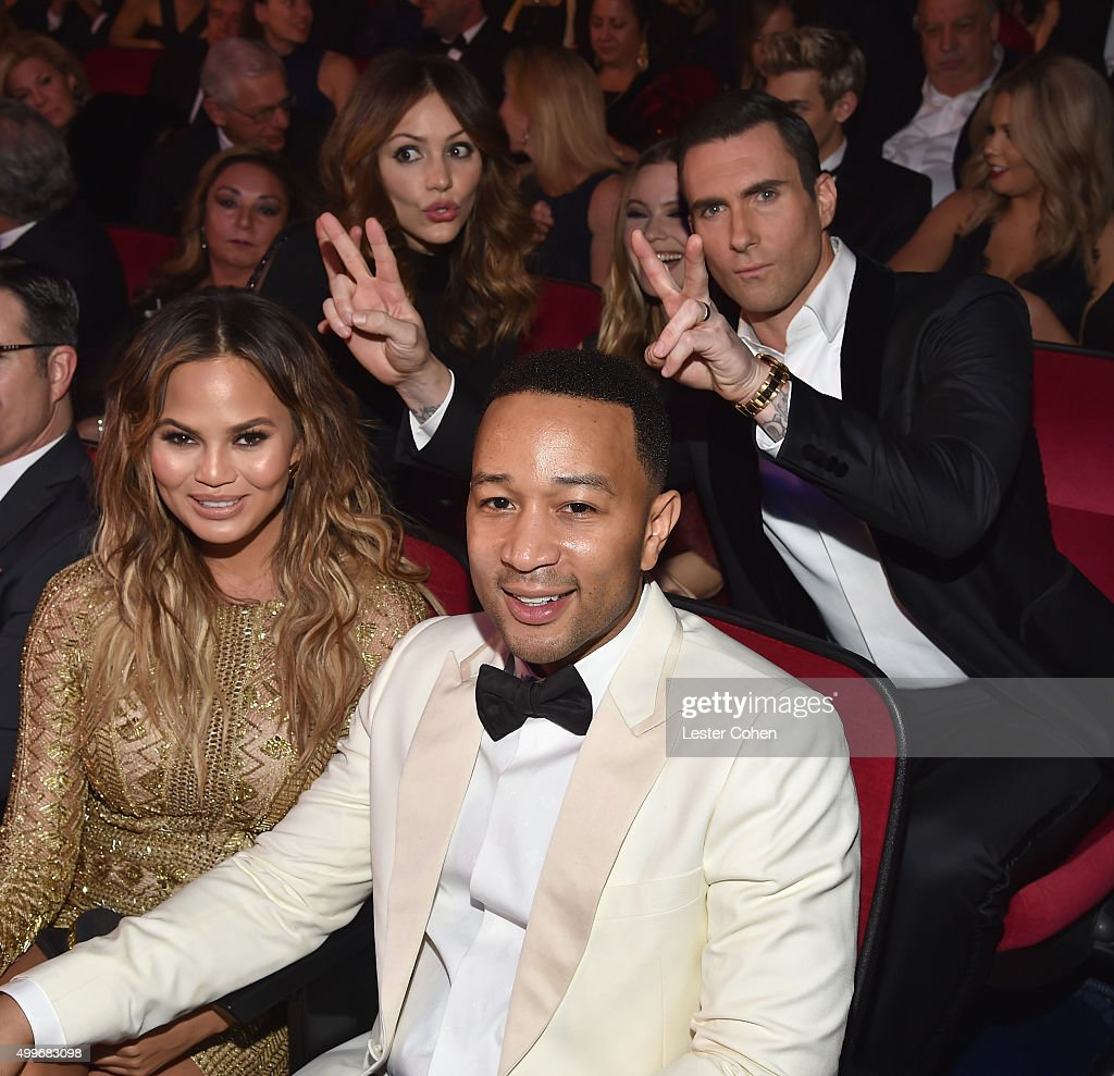 Model Chrissy Teigen, singer Katharine McPhee, model Behati Prinsloo, singer John Legend and singer Adam Levine attend 'Sinatra 100: An All-Star GRAMMY Concert' celebrating the late Frank Sinatra's 100th birthday at the Encore Theater at Wynn Las Vegas on December 2, 2015 in Las Vegas, Nevada. The show will air on CBS on December 6.