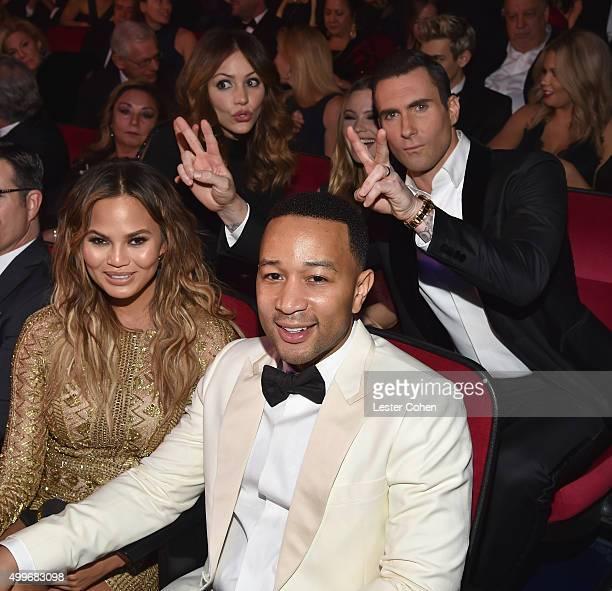Model Chrissy Teigen singer Katharine McPhee model Behati Prinsloo singer John Legend and singer Adam Levine attend 'Sinatra 100 An AllStar GRAMMY...