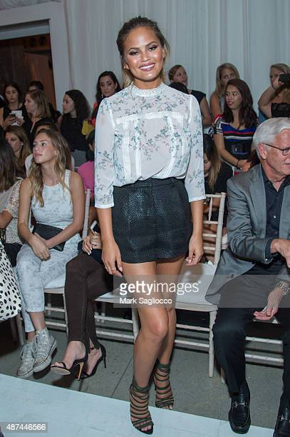 Model Chrissy Tiegen attends the Lauren Conrad Spring 2016 during New York Fashion Week at Skylight Modern on September 9 2015 in New York City
