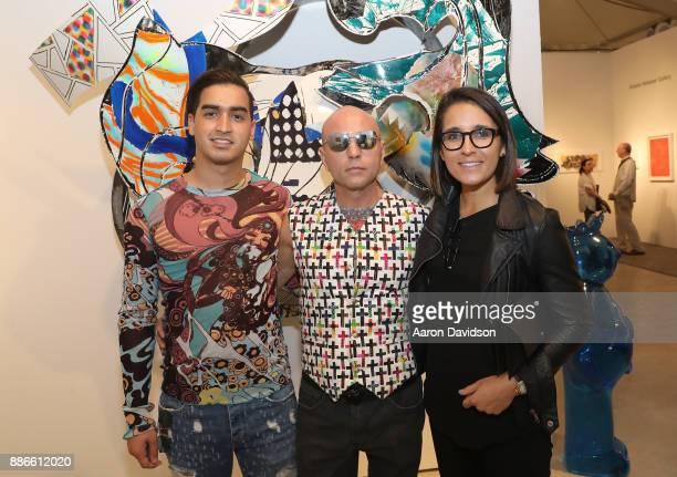 Model Christian J Perez Art Dealer Poet Jimmy D Robinson and Emily Friedman attend Art Miami VIP Kickoff at Art Miami Pavilion on December 5 2017 in...