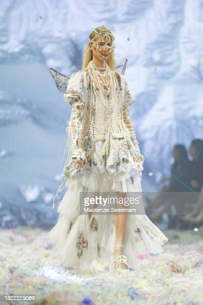 Model Christian Wilkins walks the runway in a design by Camilla during the Afterpay's Future of Fashion show during Afterpay Australian Fashion Week...