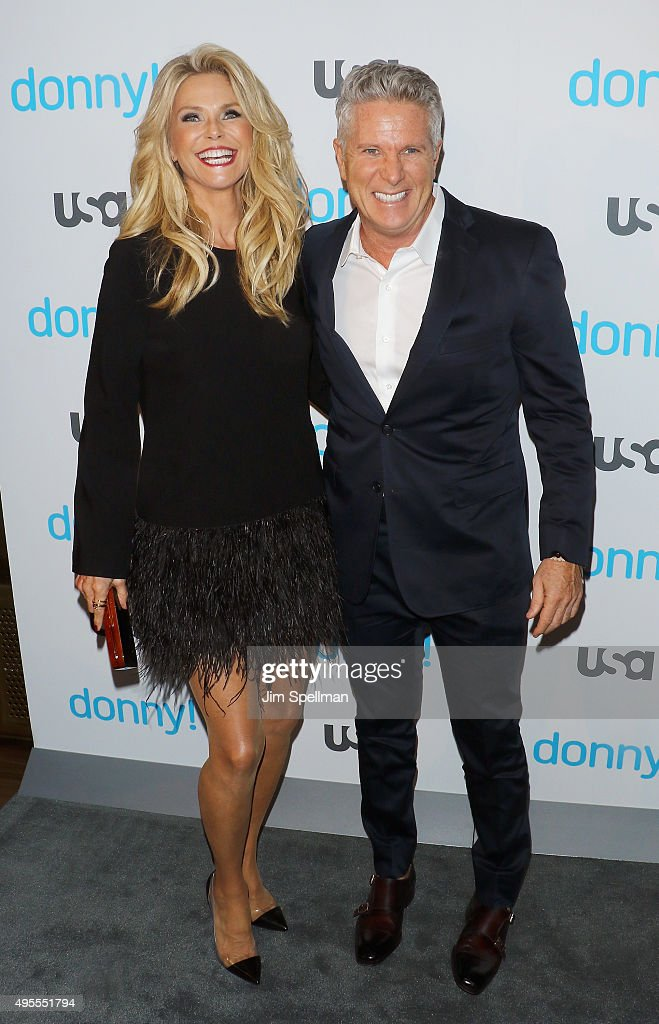 Model Christie Brinkley and advertising executive/TV personality Donny Deutsch attend the USA Network hosts the premiere of 'Donny!' at The Rainbow Room on November 3, 2015 in New York City.
