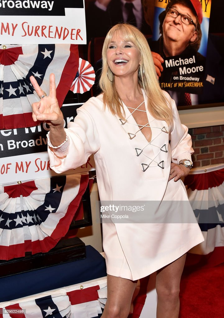 Model Christie Brinkley attends 'The Terms Of My Surrender' Broadway Opening Night at Belasco Theatre on August 10, 2017 in New York City.