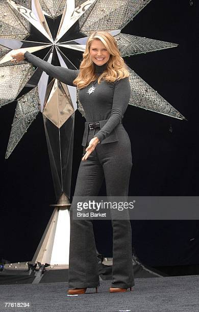 Model Christie Brinkley unveils a 550 pound Swarovski star at the Rockefeller Center Skating Rink on November 1 2007 in New York City