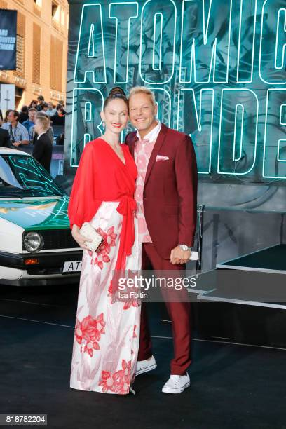 Model Christin Dechant and musician Uwe FahrenkrogPetersen attend the 'Atomic Blonde' World Premiere at Stage Theater on July 17 2017 in Berlin...