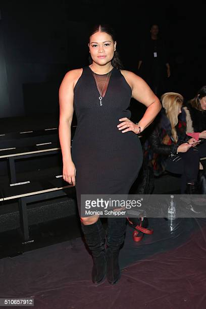 Model Christina Mendez attends the Chiara Boni La Petite Robe Fall 2016 fashion show during New York Fashion Week The Shows at The Dock Skylight at...