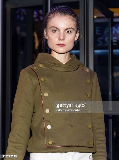Model Christine Staub is seen arriving to the Carmen Marc Valvo fashion show during New York Fashion Week on February 11 2018 in New York City