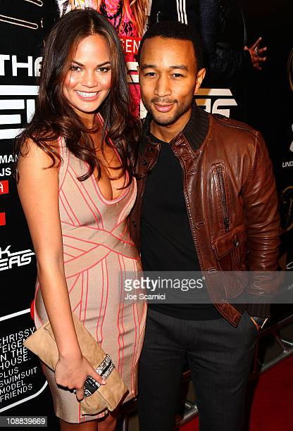 Model Christine Teigen and singer John Legend attend The Black Eyed Peas Super Bowl Party presented by Sports Illustrated and Bacardi at Music Hall...