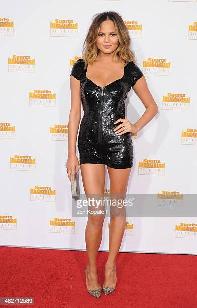 Model Christine Teigen arrives at NBC And Time Inc Celebrate 50th Anniversary Of Sports Illustrated Swimsuit Issue at Dolby Theatre on January 14...