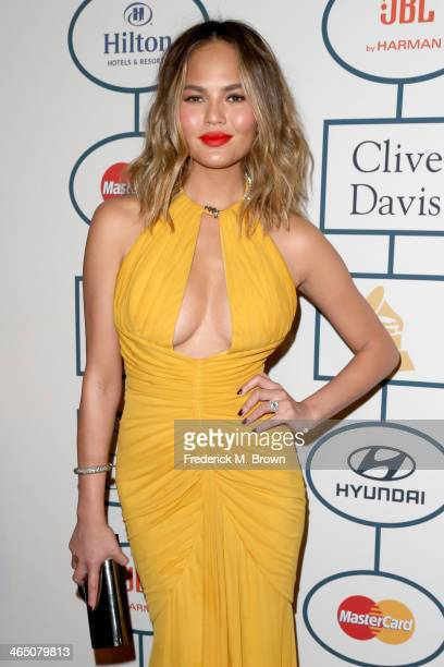 Model Christine Teigen attends the 56th annual GRAMMY Awards PreGRAMMY Gala and Salute to Industry Icons honoring Lucian Grainge at The Beverly...