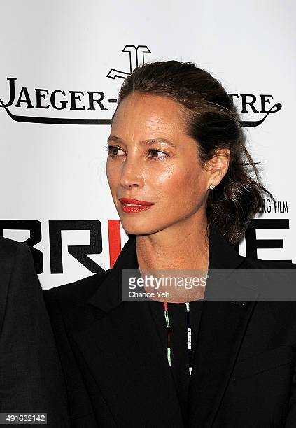 Model Christy Turlington Burns attends the 53rd New York Film Festival premiere of 'Bridge Of Spies' at Alice Tully Hall Lincoln Center on October 4...
