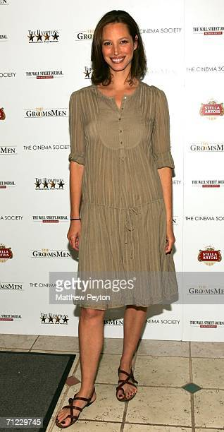 Model Christy Turlington Burns attends the premiere of The Groomsmen presented by The Cinema Society The Hamptons Film Festival The Wall Street...