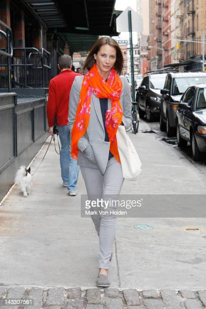 Model Christy Turlington Burns spotted wearing a Theodora Callum scarf designed to benefit her charity Every Mother Counts on April 23 2012 in New...