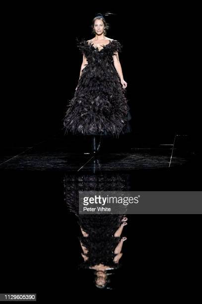 Model Christy Turlington walks the runway at the Marc Jacobs fashion show during New York Fashion Week on February 13 2019 in New York City