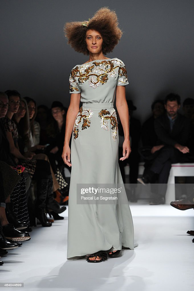 Model Chrystele Saint Louis Augustin walks the runway during the Schiaparelli show as part of Paris Fashion Week Haute Couture Spring/Summer 2014 on January 20, 2014 in Paris, France.