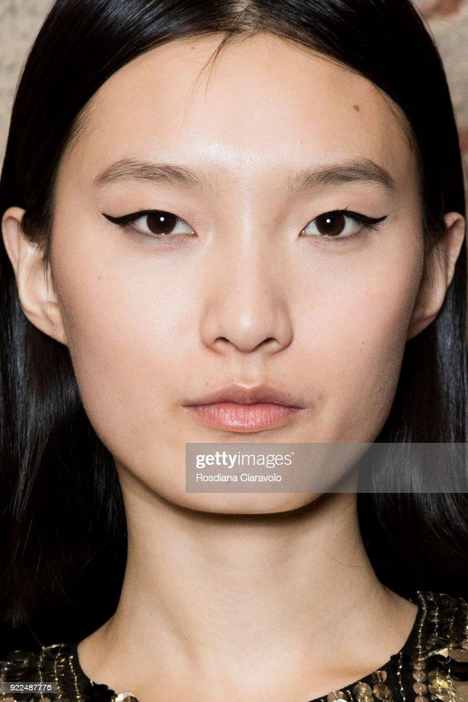 Model Chun Jie is seen backstage ahead of the Alberta Ferretti show during Milan Fashion Week Fall/Winter 2018/19 on February 21, 2018 in Milan, Italy.